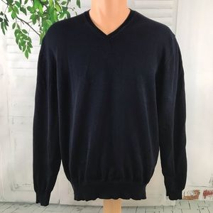 Brooks Brothers Men's V-Neck Sweater Navy Blue M